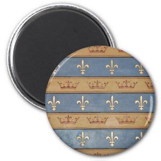 paris crowns & fleur de lis 2 inch round magnet