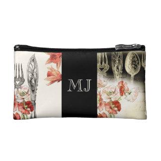 Paris cutlery poppy daffodil monogram cosmetic bag