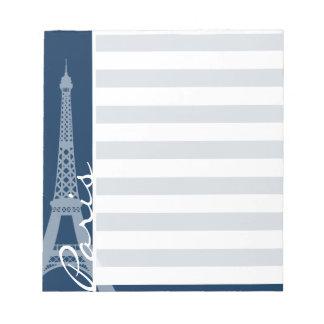 Paris; Dark Midnight Blue Horizontal Stripes Notepad