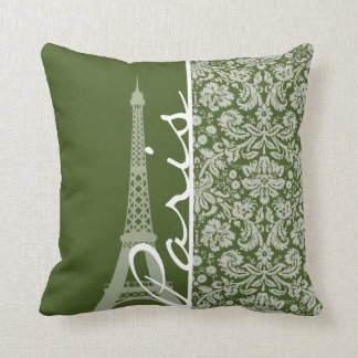 Paris; Dark Moss Green Damask Throw Pillow