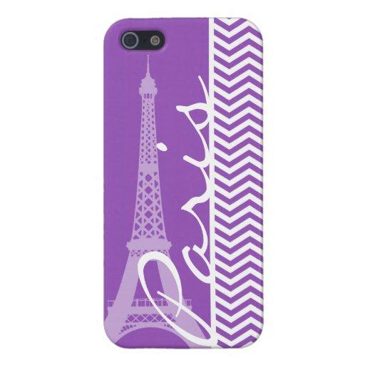 Paris; Deep Lilac Chevron Stripes Cases For iPhone 5