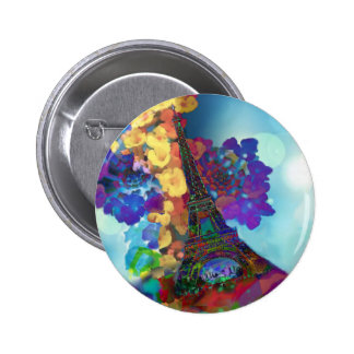 Paris dreams of flowers 2 inch round button