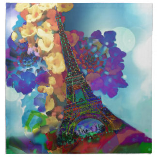 Paris dreams of flowers napkin
