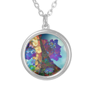 Paris dreams of flowers silver plated necklace