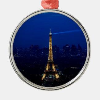 Paris Eifel Tower At Night Metal Ornament