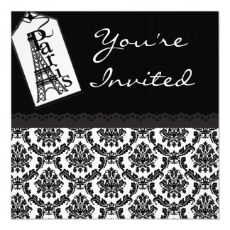 Paris Eifell Tower Motif Theme Birthday Invites