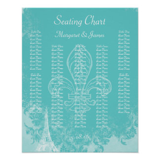 Paris Eiffel Aqua Vintage Damask Seating Chart