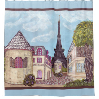Paris Eiffel inspired landscape blue bath curtain