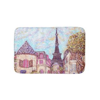 Paris Eiffel landscape pointillism bath mat