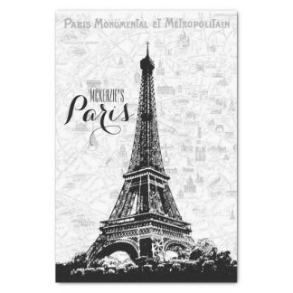 Paris Eiffel Tower Add Your Name Tissue Paper