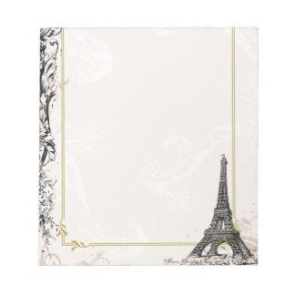 Paris Eiffel Tower and Scrolls Notepad