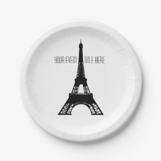 Paris Eiffel Tower black and white Paper Plate