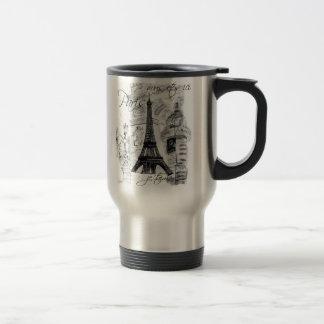 Paris Eiffel Tower Black & White Collage French Mugs