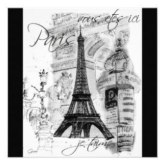 Paris Eiffel Tower Black White Collage Custom Announcements