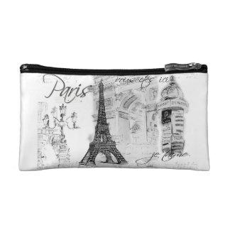 Paris Eiffel Tower Black & White Collage Makeup Bag