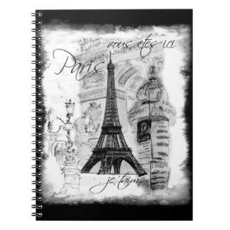 Paris Eiffel Tower Black & White Collage Notebooks