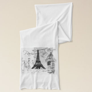 Paris Eiffel Tower Black & White Collage Scarf