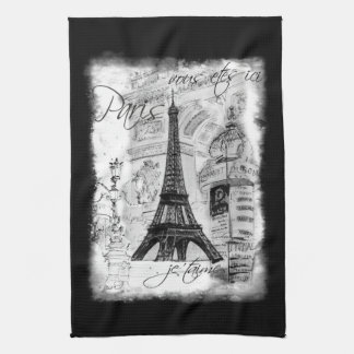 Paris Eiffel Tower Black & White Collage Scene Kitchen Towel
