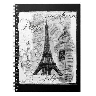 Paris Eiffel Tower Black & White Collage Scene Spiral Notebook