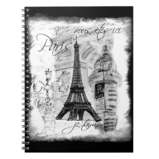 Paris Eiffel Tower Black & White Collage Spiral Note Books