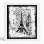 Paris Eiffel Tower Black & White Collage Street Binder