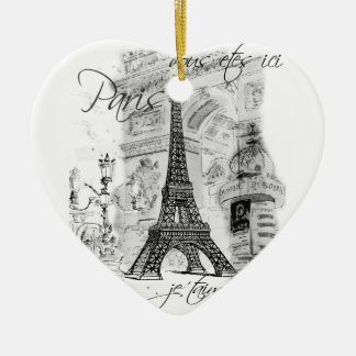 Paris Eiffel Tower Black & White Scene Ceramic Heart Ornament