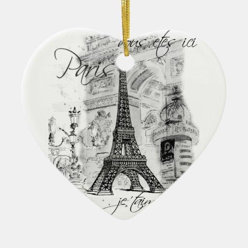 Paris Eiffel Tower Black & White Scene Ornaments