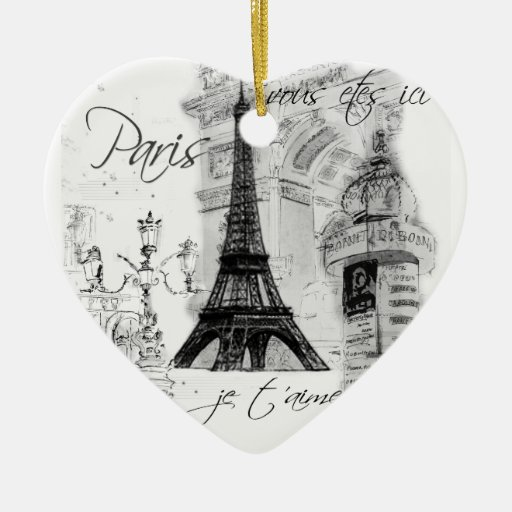 Paris Eiffel Tower Black & White Scene Christmas Ornaments