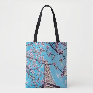 Paris Eiffel Tower Blooms in Springtime Tote Bag