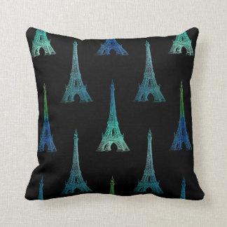Paris Eiffel Tower Blue Black Throw Pillow