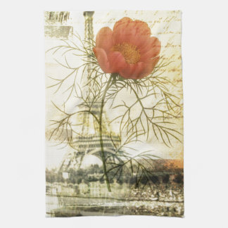 Paris eiffel tower botanical red poppy flower kitchen towel