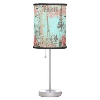 Paris Eiffel Tower & Chandelier Chic Teal Collage Table Lamp