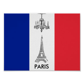 Paris Eiffel Tower Chandelier French Flag Poster
