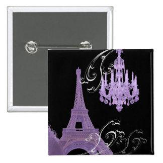 Paris Eiffel Tower Chandelier vintage wedding 2 Inch Square Button