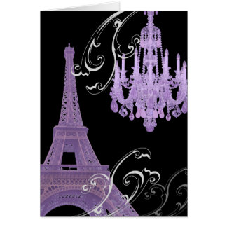 Paris Eiffel Tower Chandelier vintage wedding Card