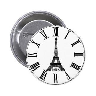 Paris Eiffel Tower Clock French 2 Inch Round Button