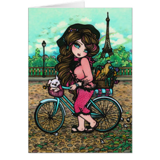 Paris Eiffel Tower Dog Bike Fantasy Girl Art Card