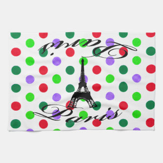 Paris Eiffel Tower Dots Kitchen Towel