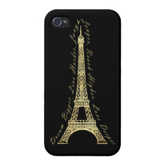 Paris Eiffel Tower Dream Bigger Inspirational Gold Cover For iPhone 4