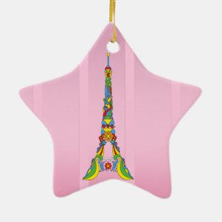 Paris Eiffel tower elegant pop stylish silhouette Ceramic Star Ornament