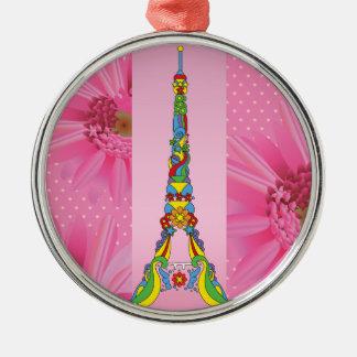 Paris Eiffel tower elegant pop stylish silhouette Silver-Colored Round Ornament