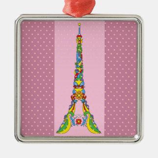 Paris Eiffel tower elegant pop stylish silhouette Silver-Colored Square Ornament
