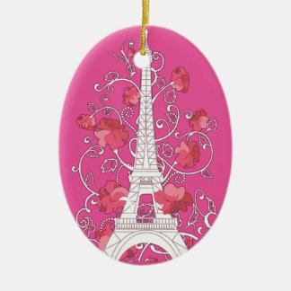 Paris Eiffel tower elegant stylish silhouette Ceramic Oval Ornament