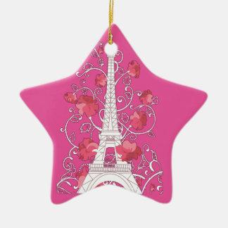 Paris Eiffel tower elegant stylish silhouette Ceramic Star Ornament
