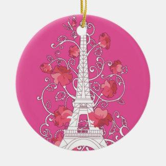 Paris Eiffel tower elegant stylish silhouette Round Ceramic Ornament