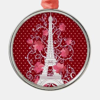 Paris Eiffel tower elegant stylish silhouette Silver-Colored Round Ornament