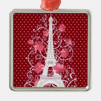 Paris Eiffel tower elegant stylish silhouette Silver-Colored Square Ornament