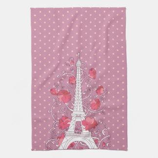 Paris Eiffel tower elegant stylish silhouette Towels