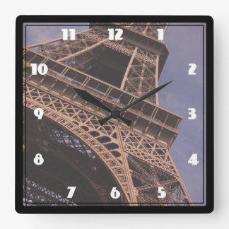 Paris Eiffel Tower Famous Landmark Photo Square Wall Clock