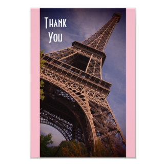 Paris Eiffel Tower Famous Landmark Photo Thank You Card